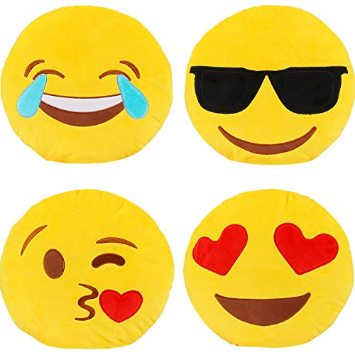 Emotion Pillow Set, Dreampark 4 Pack Smiley Pillow Emoticon Cushion Stuffed Plush Round Yellow Soft Pillow Valentines Gifts (13 inches)