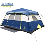 QOMOTOP 10 People Fast 60 Seconds Easy Set Up Instant Cabin Tent, Camping Tent, Provide Top Rainfly,...
