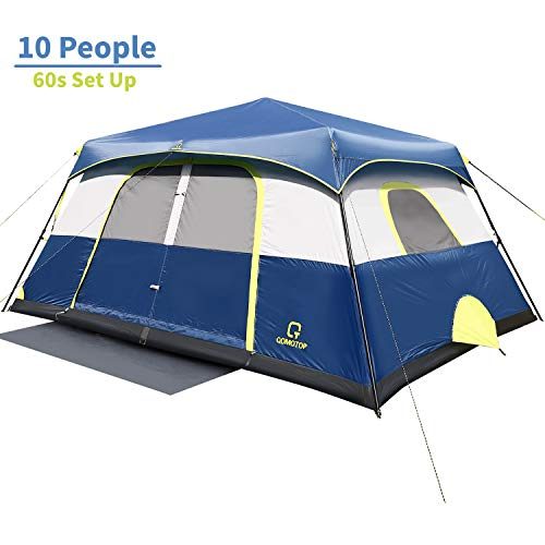 OT QOMOTOP Tents, 10 Person 60 Seconds Set Up Camping Tent, Waterproof Pop Up Tent with Top Rainfly, Instant Cabin Tent, Advanced Venting Design, Provide Gate Mat
