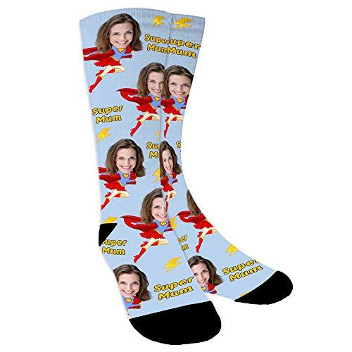 YanNanKe Calcetines Personalizados Foto,Personalizable Calcetines,Calcetines fotográficos para Hombre Mujer, Personalizable Calcetines de mamá super regalo del día de la madre