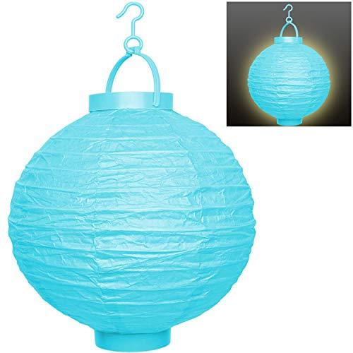 alles-meine.de GmbH 2 Stück _ LED Licht - Papier Laternen / Lampions - blau / türkis - Batterie betrieben - kabellos - Papierlaterne Papier Lampenschirm - elektrisch Batteriebetr..