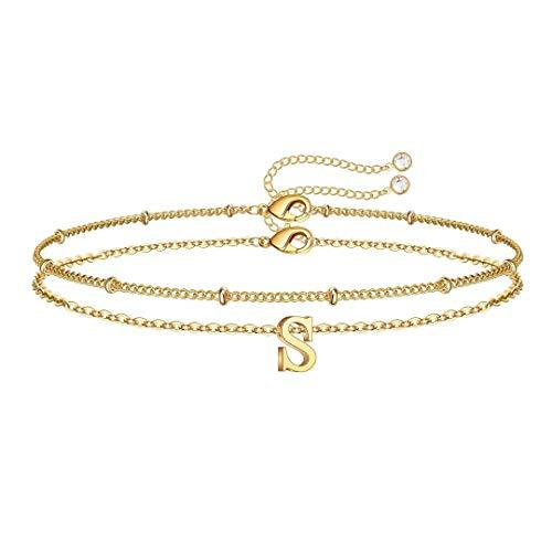 Initial Bracelets for Girls Women, Dainty 14K Gold Plated Letter S...