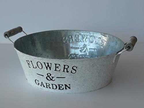 Flowers & Garden Zink Jardiniere D=24cm, weiß gewaschen, rund, Blumenschale, Pflanzgefäß, Dekoschale
