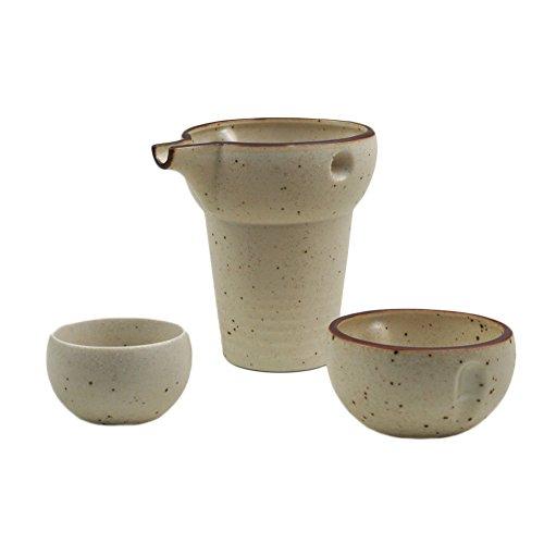 Mino-yaki Japanese Pottery Sake Set 6 oz Sake Carafe & Guinomi Sake Cup - White (Matte Finish) [Japanese Crafts Sakura]