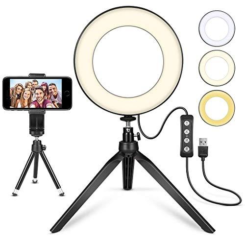 """Ring Light MACTREM 6"""" Luce ad Anello LED Dimmerabile con treppiede e Supporto per Cellulare Telefono Luce per Selfie Modalità a 3 Luci per Trucco, Fotografia, Selfie e Video YouTube, Foto in Riprese"""