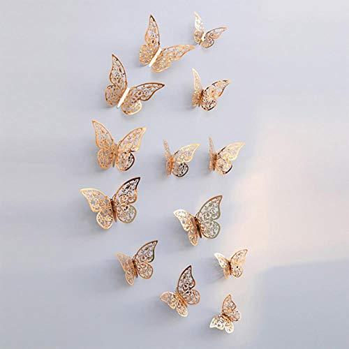 12 stks/set Rose Gold 3D Holle Vlinder Muursticker voor Home Decor Vlinders Stickers Kamerdecoratie voor Party Bruiloft Decor Champagne gold C