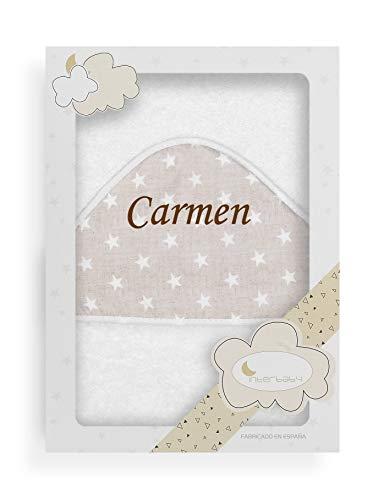 Toalla Capa de baño Bebe Personalizada con nombre bordado - Color Blanco-Beige- Danielstore