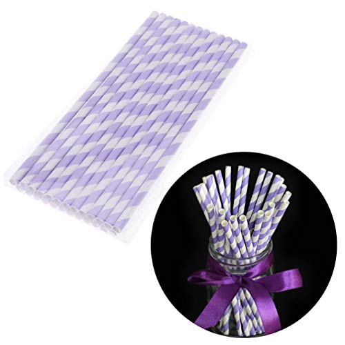 Coohole 50 PCS Stripe Paper Straw Drinking for Carious Drinking Decorations Parties Birthday Parties Weddings etc. with all the color of the rainbow (Purple)