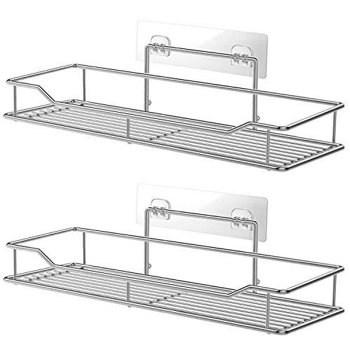 QMQ Badregal Duschregal ohne Bohren Duschablage Edelstahl Rostfrei Duschkorb mit 4 Haken, 2 Stück Duschkörbe Ablagen Wandregal für Bad Badezimmer Küche
