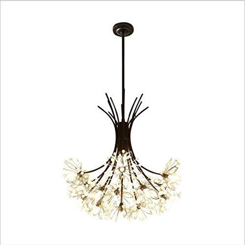 VIWIV Lámpara nórdica con ramo creativo de hierro, iluminación de cristal negro, sencilla iluminación romántica cálida, apta para el estudio del dormitorio del salón
