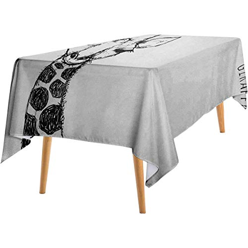 LanQiao Black and White Waterproof Tablecloth Cute Graphic of Safari Giraffe Tall Neck Spots West African Wild Character Waterproof and Spill-Proof Tablecloth 60'x84' Grey White.jpg