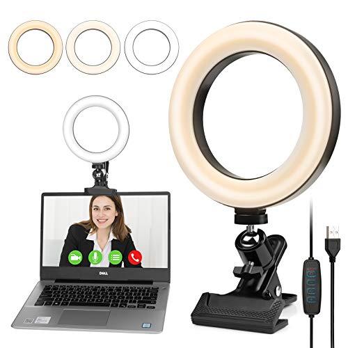 Czemo Anillo de Luz LED Luz para Videoconferencia de Escritorio 3 Colores...