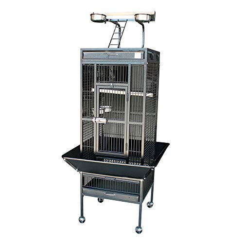 Jaula para loro grande color gris oscuro 156*64*64cm Jaula grande para pájaro Jaula de Aves Canarios con rueda.