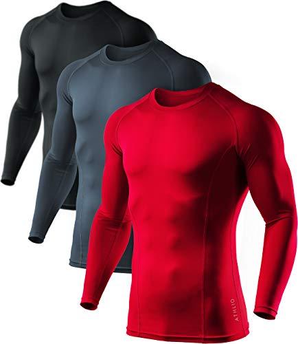 ATHLIO Herren Cool Dry Fit Langarm-Kompressionsshirts Active Sports Base Layer T-Shirt Athletic Workout Shirt, Jungen Damen Mädchen Herren, 3er-Pack (bls01) - Schwarz/Kohle/Rot, XX-Large