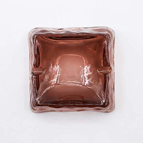 Suytan Soporte para Cigarrillos Cenicero Cenicero S Cristal Creativo Patrón de Martillo Vidrio Simple Wd Livg Habitación Oficina Cenicero Grande, Ámbar,Vino Tinto