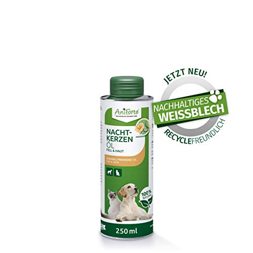 AniForte natürliches Nachtkerzenöl für Hunde & Katzen 250ml – ungesättigte & gesättigte Fettsäuren, Omega 6 & 9, Stärkung des Wohlbefinden, Recyclebare Verpackung ohne BPA, Naturprodukt, keine Kapseln
