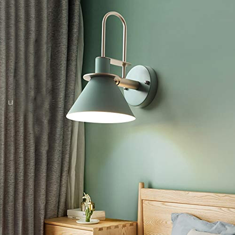 LJ Nordic Einfache Macaron Wandleuchte Schmiedeeisen Grüne Beleuchtung Lampen 3-5 Quadratmeter Restaurant Schlafzimmer Nachttischlampe Wohnzimmer Studie