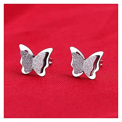 Houren Moda de Acero Inoxidable Mariposa Pequeño Animal Pendientes Cortos Mujeres Nueva Hipoalergénica Joyería Regalo Cristal Claro (Metal Color : Steel)