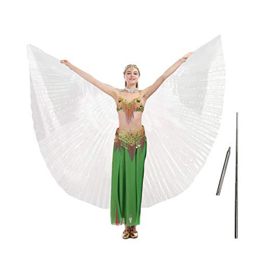 iMucci Bauchtanzflügel mit Stäben, 14 Farben, 360 Grad, Isis-Engelsflügel mit tragbaren Teleskopstangen für Erwachsene und Kinder Einheitsgröße weiß