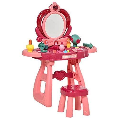 homcom Toeletta Trucco con Sgabello e Accessori per Bambini da 3 Anni, Specchio con Luci e Musiche Integrate, Rosa