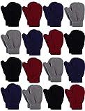 Cooraby 16 Paar Kleinkind Handschuhe Magic Stretch Winter Fäustlinge Weiche Warme Unisex Baby Strickhandschuhe Gr. S, Schwarz, Grau, Marineblau, Jujube-Rot.