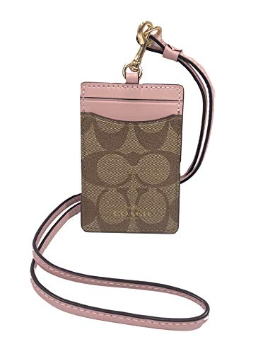 Coach Signature PVC Lanyard ID Badge Card Holder (IM/Khaki Blossom)