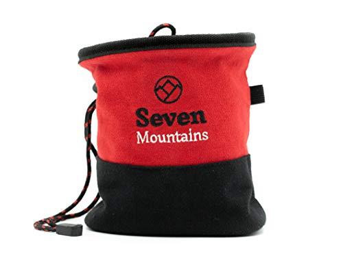 Seven Mountains Chalkbag für Bouldern Klettern & Crosssfit | reißfest selbststehend u. robuster Magnesiumbeutel aus 100% Leinen | großer Kreidebeutel | staubdichte Klettertasche | maximaler Grip