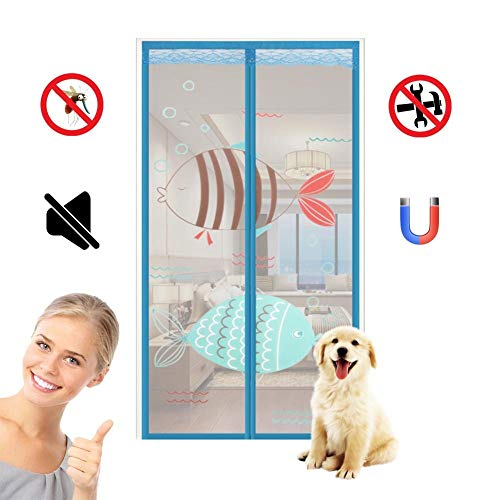 ROYWY Magnetic Fly Screen Door,Anti-Mosquito Curtain,Super Quiet Stripes Encryption,Keep Bug Out Let Fresh Air in for Balcony Sliding Living Room Children's Room/Blue / 95 * 205CM