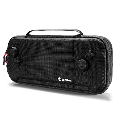 tomtoc 収納ケース ホリ グリップコントローラー専用 ハードケース Nintendo Switch対応 ゲーム 30枚収納 耐衝撃 薄型 撥水表面 ボタン保護 スイッチ HORI 携帯モード キャリングケース 持ち手付き 新月