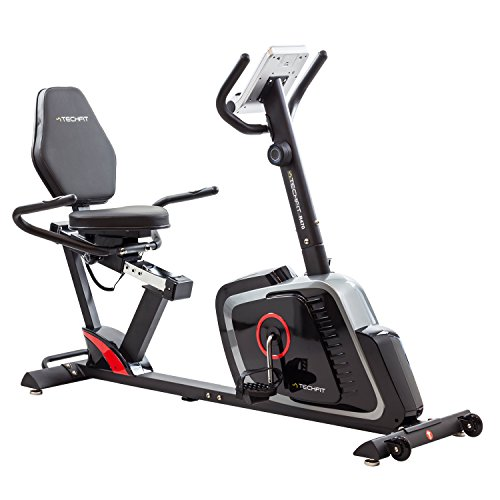 TechFit R470 Cyclette Orizzontale, Recumbent Ergometro Ideale per Allenamento di Recupero, con Sella Regolabile, Sensori a Impulsi e Monitor LCD