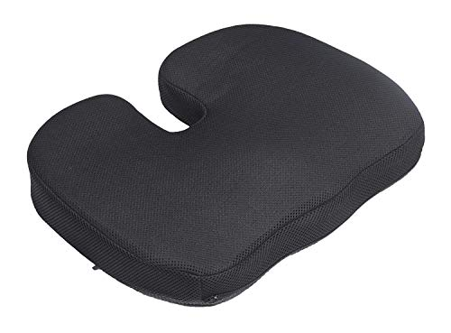 Proliva Coccyx Orthopedic Memory Foam Medical Seat Cushion For Relief From Lower Back Pain, Tailbone, Lumbar Pain, Pelvic Pressure, and Hip Pain- Regular Firm Above 80 Kg Body Weight (Black)