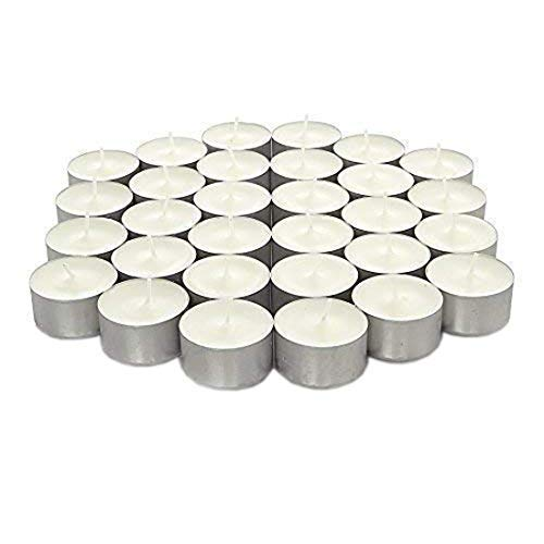 We Can Source It Ltd - 100 White Tea Lights Candles Unscented Non-toxic - 8 Hours Burn Tealights - Perfect for Christmas, Valentines Day, Birthday Celebration
