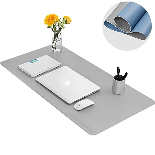 """Desk Pad, Upgrade Sewing PU Leather Desk Protector, Multifunctional Office Desk Pad, Laptop Desk Mat, Waterproof Desk Writing Mat Mouse Pad, Dual-Sided (31.5"""" x 15.7"""", Gray/Blue)"""