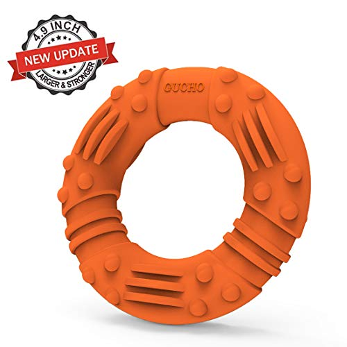 Updated Durable Dog Chew Toys for Aggressive Chewers - Lifetime Replacement Guarantee - Nearly Indestructible Natural Rubber Dog Toys - Tough Strong Tug of War Dog Teething Toys for Large Medium Dogs