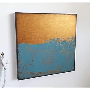 50x50cm Acrylbilder auf Leinwand Malerei A.Traub Kunst Gemälde Wanddeko gold Wohnaccessoires Acrylmalerei Art Deco Style