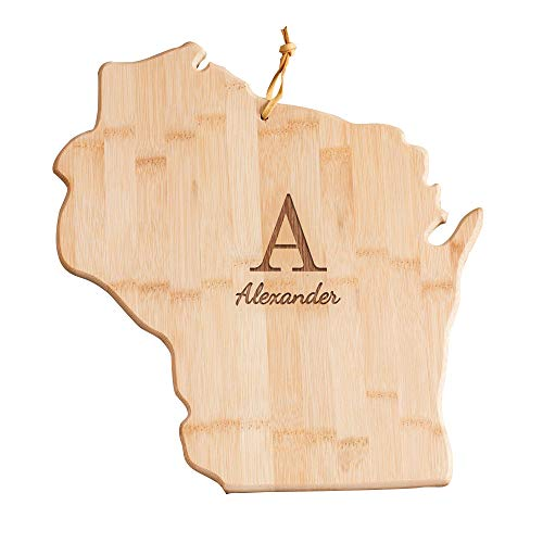 Personalized Family Initial Wisconsin State Cutting Board, 12' W x 13' L, Bamboo