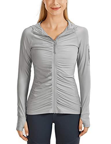 CRZ YOGA Women's UPF 50+ Swimsuit Cover Ups Quick Dry Zip Front Rash Guard Long Sleeve Jacket Swim Hoodie Grey X-Small