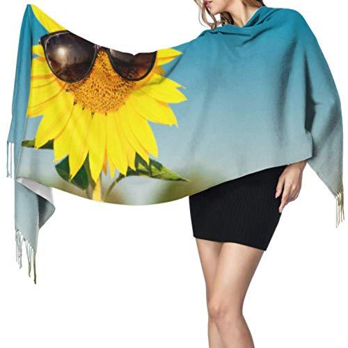Ahdyr Bufanda de cachemira con flecos Girasol con gafas de sol Abrigos Chales para mujer Bufanda con flecos Bufanda de cachemira Grande 77 'x27' / 196x68cm Grande Suave Pashmina Extra Warm