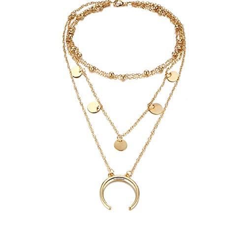 Gobesty Collar Multicapa Dorado para Mujer, Collar Ajustable Gargantilla Collares diseño de Luna Regalo de joyería para Mujer