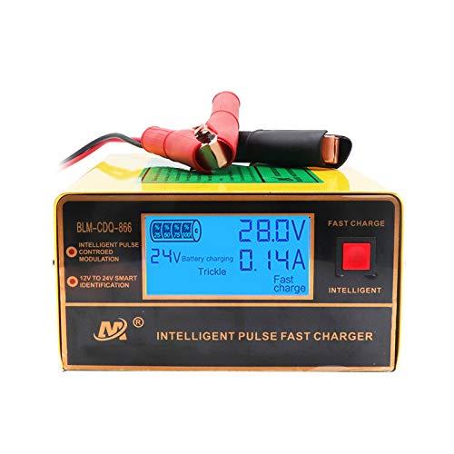 Chargeur de Batterie 12V/24V 5 étages 10A 200W Chargeur intelligent d'impulsion avec Fonction de Détection Automatique + Réparation + Maintenance Grand écran LCD pour Moto, Bateau et Coffre etc