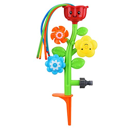 Renzhe Outdoor Water Spray Sprinkler for Kids and Toddlers - Backyard Spinning Flower Sprinkler Toy w/Wiggle Tubes - Splashing Fun for Summer Days - Attaches to Garden Hose
