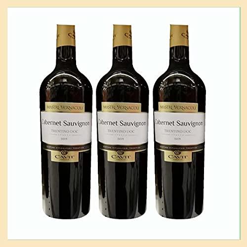3x Cabernet Sauvignon Trentino doc, cl 75, Mastri Vernacoli, cantina Cavit, Trento, vino rosso prodotto tipico Italia