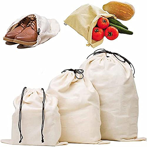 EZTecho 3Pcs Natural Cotton Drawstring Bags, Dust-proof Storage Pouch Bag, Dust Covers Large Non-Woven Fabric Pouch String Bag for Handbags Purses
