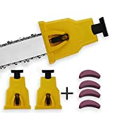 2Pack Chainsaw Sharpener with 4 Stones Portable Chain Saw Blade Teeth Sharpener Fast-Sharpening Stone Grinder Tools Suitable for 14/16/18/20 Inch & One/Two Holes Chain Saw Bar with Replacement Stone