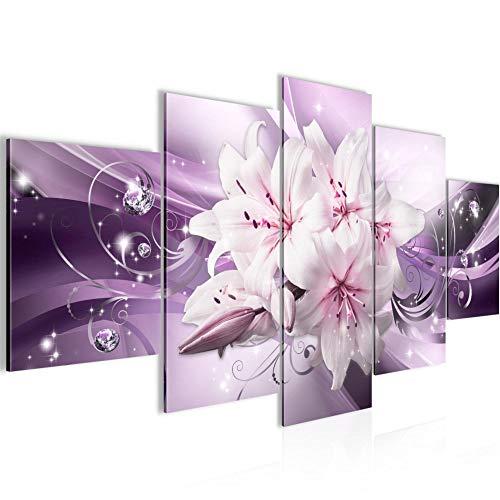Bilder Blumen Lilien Wandbild Vlies - Leinwand Bild XXL Format Wandbilder Wohnzimmer Wohnung Deko Kunstdrucke Violett 5 Teilig - MADE IN GERMANY - Fertig zum Aufhängen 020153b