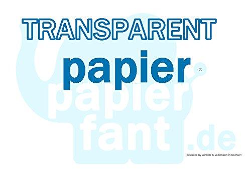 Transparentpapier - 100 Blatt Papier transparent DIN A6 110-115 g/m² - papierfant.de - SUPER!