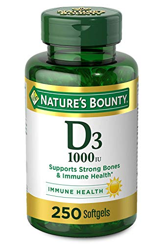 Vitamin D by Nature Bounty for immune support Vitamin D provides immune support and promotes healthy bones 1000IU 250 Softgels