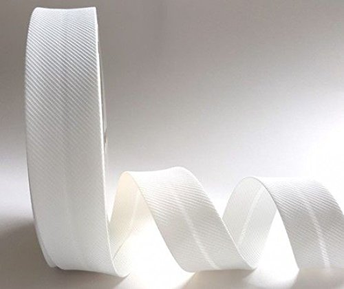Cinta bies, tejido texturizado con rayas en diagonal, color blanco, 30mm, 2m longitud (Nota: este es un corte de un rollo), de Fany.
