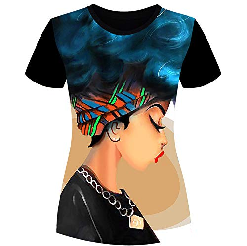 Women's T-Shirts Afro Girl African American Black Natural Hair Styles Casual Tops for Women Tees S