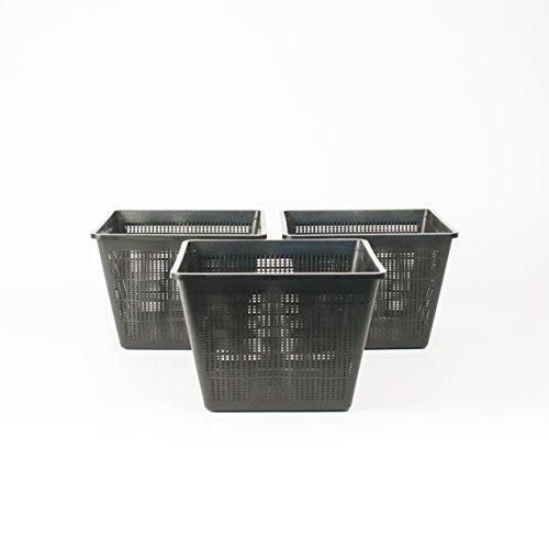 Inter Flower -3 Set XXL Pflanzkörbe Wasserpflanzen 28x28x18cm / für Gartenteich - gut geeignet für Teichplfanzen wie Seerosen/Kunststoff/Teichpflanzen Korb, Gartenteich Wasserpflanzen